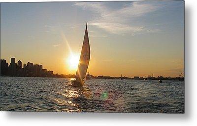 Boston Harbor Sunset Metal Print by Laura Lee Zanghetti