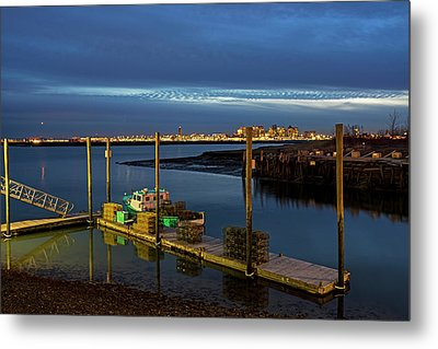 Boston Ma Belle Isle Boat Pier And Skyline Logan Airport Metal Print by Toby McGuire