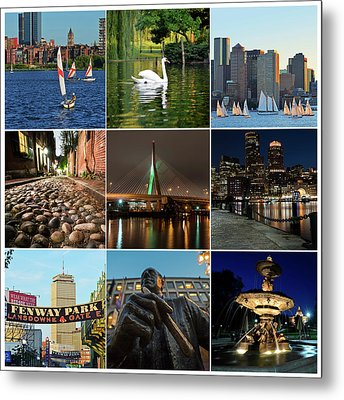 Boston Ma Nine Image Collage 1 Metal Print by Toby McGuire