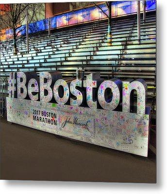 Metal Print featuring the photograph Boston Marathon Sign by Joann Vitali