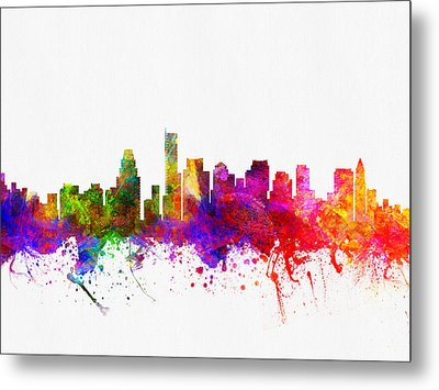 Boston Massachusetts Skyline Color02 Metal Print by Aged Pixel
