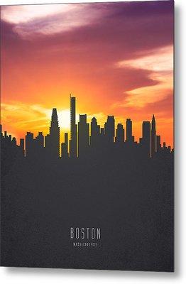 Boston Massachusetts Sunset Skyline 01 Metal Print by Aged Pixel