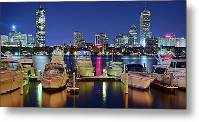 Boston Night Panoramic View Metal Print by Frozen in Time Fine Art Photography