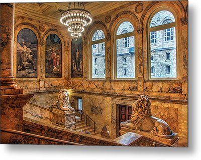 Metal Print featuring the photograph Boston Public Library Architecture by Joann Vitali