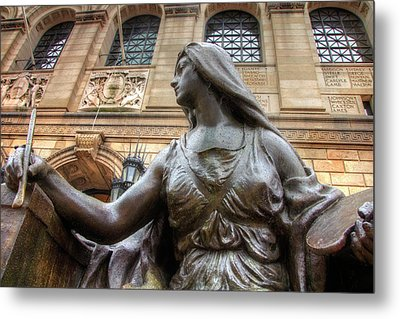 Metal Print featuring the photograph Boston Public Library Lady Sculpture by Joann Vitali