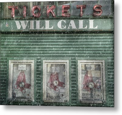Metal Print featuring the photograph Boston Red Sox Fenway Park Ticket Booth In Winter by Joann Vitali