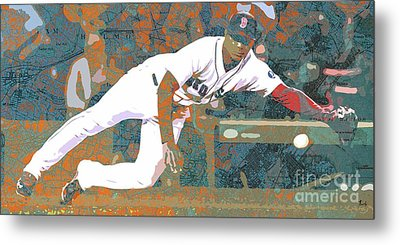 Boston Red Sox Player On Boston Harbor Map Metal Print by Pablo Franchi