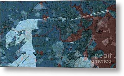 Boston Red Sox Player On Boston Harbor Map, Vintage Blue Metal Print by Pablo Franchi