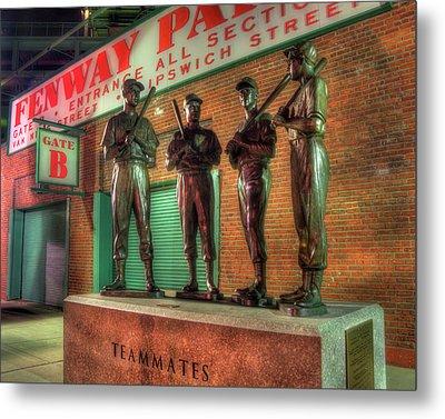 Boston Red Sox Teammates Statue - Fenway Park Metal Print by Joann Vitali