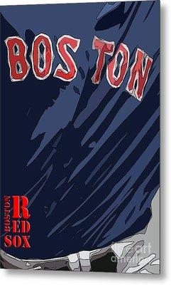 Boston Red Sox Typography Blue Metal Print by Pablo Franchi