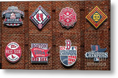 Boston Red Sox World Series Emblems Metal Print by Diane Diederich