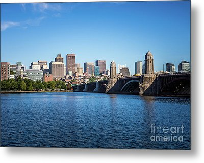 Boston Skyline And Longfellow Bridge Photo Metal Print by Paul Velgos