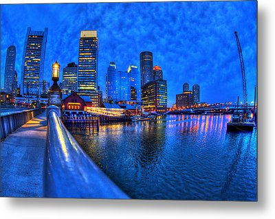 Boston Skyline At Night And Tea Party Museum In Fort Point Channel Metal Print