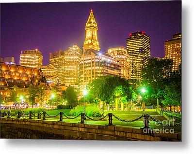 Boston Skyline At Night With Christopher Columbus Park Metal Print