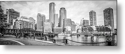Boston Skyline Black And White Panoramic Picture Metal Print