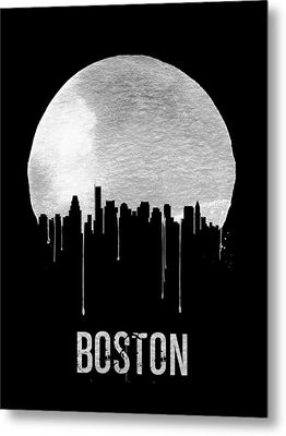 Boston Skyline Black Metal Print by Naxart Studio