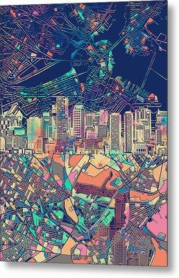 Boston Skyline Blue Metal Print by Bekim Art