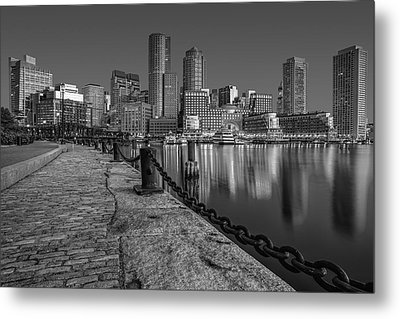 Boston Skyline Dawn Bw Metal Print by Susan Candelario