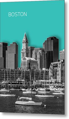 Boston Skyline - Graphic Art - Cyan Metal Print