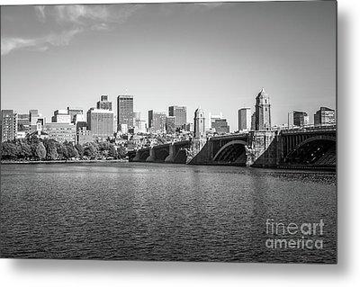 Boston Skyline Longfellow Bridge Black And White Photo Metal Print by Paul Velgos