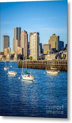 Boston Skyline Photo With Port Of Boston Metal Print