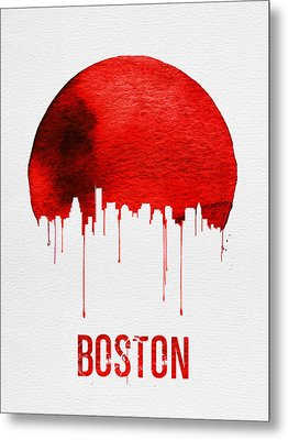 Boston Skyline Red Metal Print by Naxart Studio
