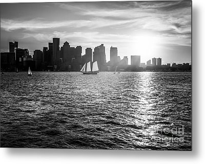 Boston Skyline Sunset Black And White Photo Metal Print