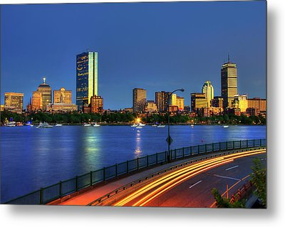 Boston Skyline Sunset Over Back Bay And The Charles River Metal Print