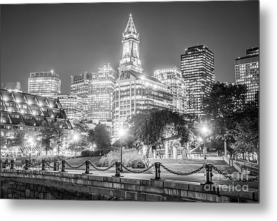 Boston Skyline With Christopher Columbus Park Metal Print