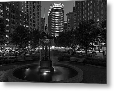 Boston Statler Park In Black And White Metal Print