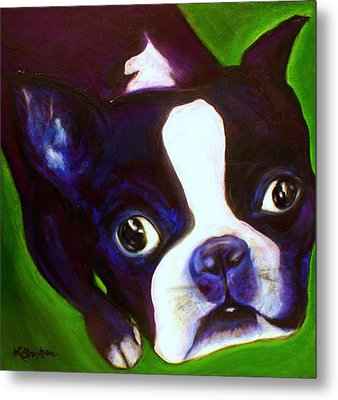 Metal Print featuring the painting Boston Terrier - Elwood by Laura  Grisham