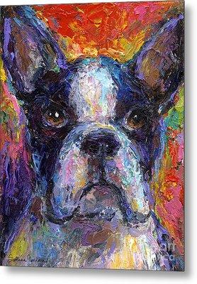 Boston Terrier Impressionistic Portrait Painting Metal Print by Svetlana Novikova