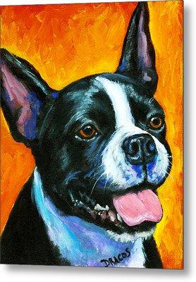 Boston Terrier On Orange Metal Print by Dottie Dracos
