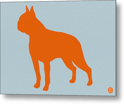 Boston Terrier Orange Metal Print