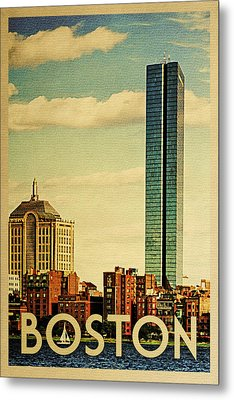 Boston Vintage Travel Poster Metal Print