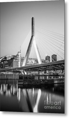 Boston Zakim Bridge Black And White Photo Metal Print by Paul Velgos