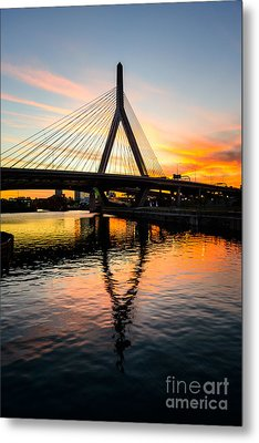 Boston Zakim Bunker Hill Bridge At Sunset Metal Print by Paul Velgos