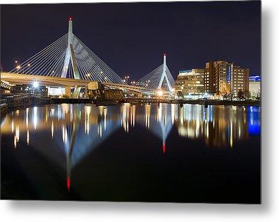 Boston Zakim Memorial Bridge Nightscape II Metal Print by Shane Psaltis