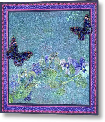 Metal Print featuring the painting Botanical And Colorful Butterflies by Judith Cheng