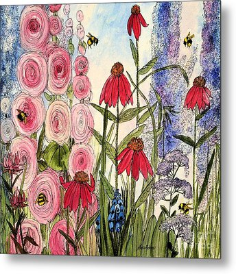 Metal Print featuring the painting Botanical Wildflowers by Laurie Rohner