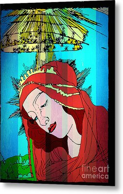 Botticelli Madonna In Vertical Stripes Metal Print by Genevieve Esson