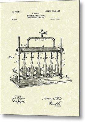 Bottle Filling Machine 1903 Patent Art Metal Print by Prior Art Design