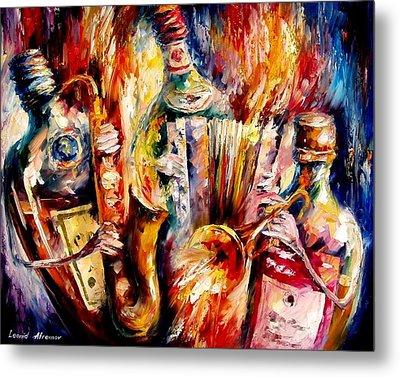Bottle Jazz Metal Print by Leonid Afremov