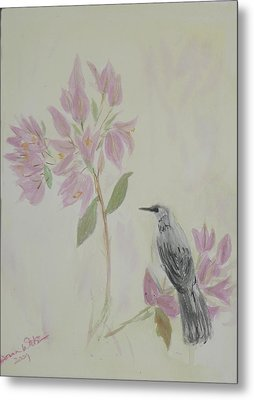 Metal Print featuring the painting Bougainvillea And Mockingbird by Donna Walsh