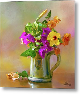 Metal Print featuring the photograph Bougainvilleas In A Green Jar. by Juan Carlos Ferro Duque