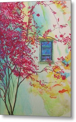 Bouganvilla And Blue Shutter Metal Print by Lizzy Forrester