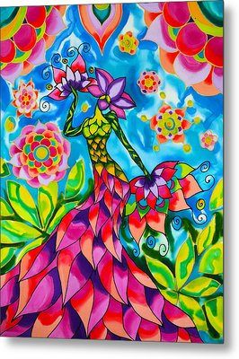 Bouganvilla Woman In The Garden Series Caye Caulker Belize Metal Print by Lee Vanderwalker