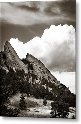Large Cloud Over Flatirons Metal Print by Marilyn Hunt