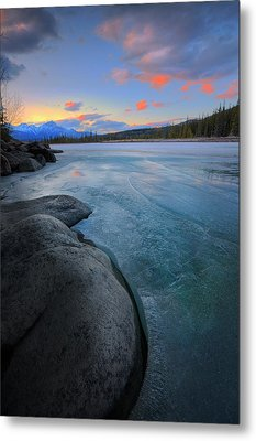 Metal Print featuring the photograph Boulders And Ice On The Athabasca River by Dan Jurak