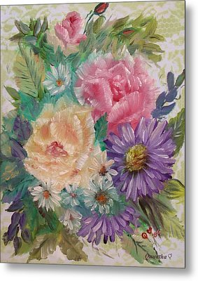 Metal Print featuring the painting Bouquet 2 by Quwatha Valentine